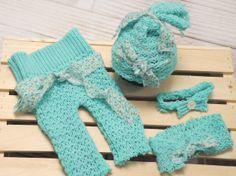 Newborn Pants, hat, Headband and Turban,  Set in aqua Upcycled  knit   Baby Pant Set,