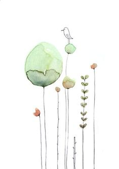 Cécile Hudrisier Watercolor Illustration, Wind Chimes, Watercolors, Journaling, Plant Drawing, Plants, Watercolour Paintings, Caro Diario, Water Colors