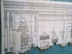 A section of the Egyptian Book of the Dead written on papyrus showing the Weighing of the Heart in Duat (realm of the dead) where Anubis can be seen on the far right, the scales are shown with the feather balance, and Ammit awaits hearts that she must devour – the presence of Osiris at the gateway to the paradise of Aaru dates the papyrus to a late tradition of the myth.