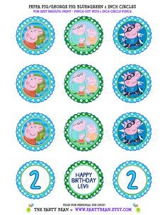 George Peppa Pig Birthday Blue & Green Boy Cupcake by partybean, $5.50  instantpartyinvites@gmail.com