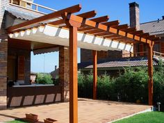 The pergola kits are the easiest and quickest way to build a garden pergola. There are lots of do it yourself pergola kits available to you so that anyone could easily put them together to construct a new structure at their backyard. Corner Pergola, Small Pergola, Deck With Pergola, Pergola Attached To House, Outdoor Pergola, Backyard Pergola, Patio Roof, Pergola Kits, Pergola Roof