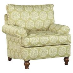 "Blending stately style and casual elegance, this chic design brings eye-catching allure to your living room, den, or master suite. Product: Arm chairConstruction Material: Wood, fabric and spring fiber foamColor: Soft green and creamFeatures:Decorative front bun feet offer a simple, classic designTransitional styleMade in the USA Dimensions: 39"" H x 40"" W x 37"" DNote: Assembly required    Shipping: This item ships Self Service Truck Delivery, so you will receive a call after the item ships…"