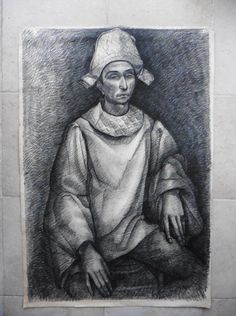 FRENCH SCH. 20thC - LARGE SIZE ABSTRACT PORTRAIT PIERROT FIGURE - PICASSO SCHOOL #Abstract