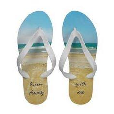 White with Ocean Desig Flip Flops