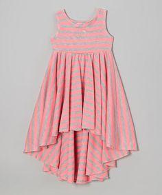 Love this Neon Pink & Gray Stripe Hi-Low Dress - Toddler & Girls by Sofi on #zulily! #zulilyfinds