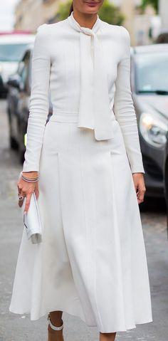 Street Style ~ HC Fall '16 Paris, Giovanna Engelbert In Giambattista Valli Dress.