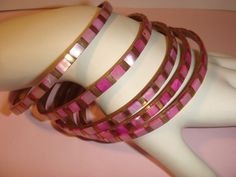 Vintage Set 5 PINK INLAID Shell Bangle Bracelets pink & gold  #Unbranded #Bangle