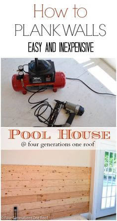 How to plank walls with inexpensive plywood and quarters {pool house makeover} @Four Generations One Roof