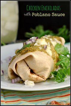 Chicken Enchiladas with Poblano Sauce 1 by preventionrd, via Flickr