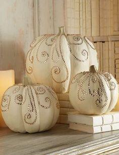 Painted Rhinestone Pumpkins For Fall Wedding Decor Fall Wedding Decorations, Thanksgiving Decorations, Halloween Decorations, Wedding Ideas, Thanksgiving Games, Wedding Fun, Wedding Wishes, Green Wedding, Trendy Wedding