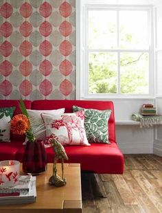 Nice look!: A striking sofa in a bold shade will act as a focal point to a living room, with a simple leaf print wallpaper on the wall behind to echo the colour. Wallpaper and furniture by Asda. Decor, Room, Home N Decor, Living Dining Room, Small Living Room Design, Home Decor, Small Space Living, Living Room Designs, Small Living