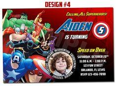 Avengers Superheroes Movie Ironman Birthday Party Photo Invitations -