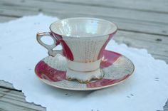 Vintage Pink and Gold Scalloped Lusterware Teacup, breast cancer fund