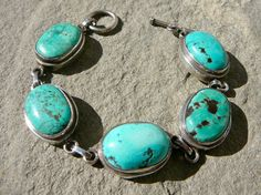 Turquoise and Silver Link Bracelet, Native American Turquoise Jewelry, 5 Stone Turquoise bracelet, Navajo Turquoise Jewelry,