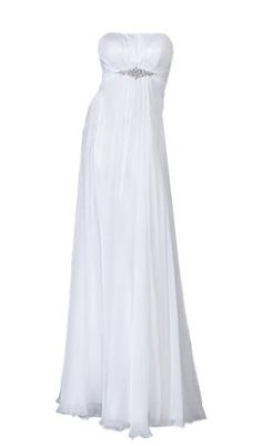 Moonar Chiffon Strapless Straight Across A Line Prom Formal Gown Party Bridesmaid Wedding Dress for only $59.63