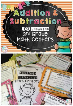 This product includes 10 engaging math centers that review addition and subtraction math skills. They are ideal for the beginning of the year 3rd graders or mid year 2nd grader.