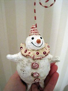 Christmas Snowman ornament folk art OOAK