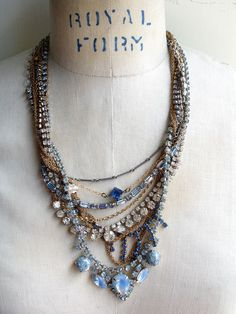 Paula Montgomery It's Complicated Number 22 - Nine Strand Repurposed Necklace - Tom Binn inspired necklace, multi-strand necklace in blues, ...