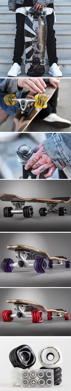 According to designer David M. Patrick, the perfect wheel isn't circular, but rather a scientifically calibrated blend of the circle, square, and the sine-wave. The Shark Wheels designed by David for Sidewinder Formula are a Shark Tank success story. Designed to actually provide a faster, smoother ride with much more control while skateboarding on all sorts of terrain, this rather striking looking pair of wheels actually use lesser material but provide a larger wheel-base.