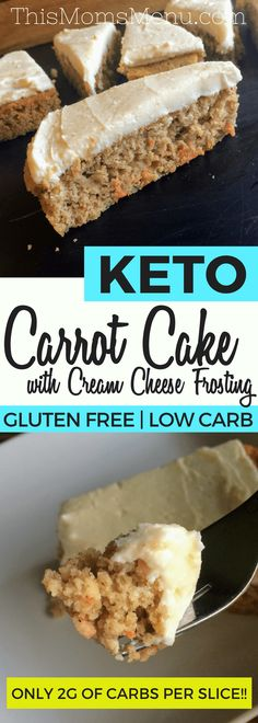 This recipe for Keto Carrot Cake with Cream Cheese Frosting is the PERFECT spring time dessert. With only 1 net carb per slice it's a great, low carb alternative to traditional carrot cakes. Serve it as is - or toss in some chopped pecans for some extra crunch!