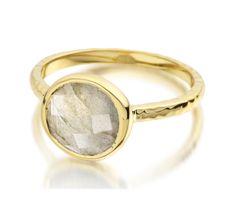 Mini Luna Ring 18ct Gold Plated Vermeil on Sterling Silver Labradorite   Monica Vinader