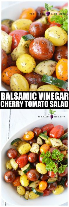 Tomato Salad With Cucumbers, Balsamic Vinegar And Garlic Tomato Side Dish Recipe Cherry Tomato Salad, Tomato Salad Recipes, Vegetable Recipes, Cherry Tomatoes, Veggie Recipes Sides, Vegetable Salad Recipes, Potato Recipes, Quick Vegetarian Meals, Vegan Vegetarian