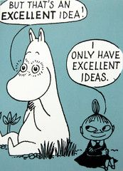 Moomin comic strip greeting card - grey