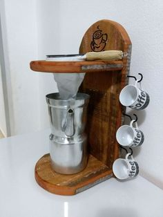 Pour over coffee stand with reusable filter and hooks for coffee cup storage Easy Woodworking Projects, Wood Projects, Coffee Stands, Home Coffee Stations, House Of Turquoise, Coffee Cafe, Wood Art, Wood Crafts, Diy Home Decor