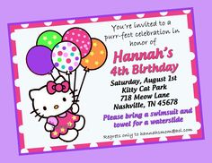 Shopping birthday party invitations at tiny prints invitation hello kitty birthday invitations templates free stopboris Images