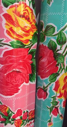Valentine's Oil Cloth Yardage TABLECLOTH Craft Fabric Pink Rose gal