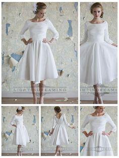 Classic Vintage A-line 3/4 Length Sleeves Tea Length Wedding Dresses