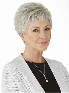 Cute Short Pixie Grey Hair Wig For Older Ladies - June 22 2019 at Short Hair Older Women, Haircut For Older Women, Older Women Hairstyles, Wig Hairstyles, Hairstyles 2018, Natural Hairstyles, Grey Hair Wig, Short Grey Hair, Short Hair With Layers