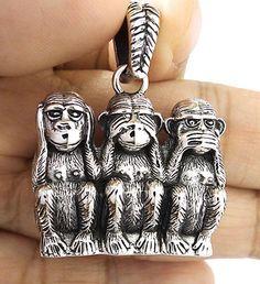 BIG THREE WISE MONKEYS STERLING SILVER PENDANT Sterling Silver Pendants, 925 Silver, Three Wise Monkeys, Monkey 3, Big Three, Third, Japanese, Jewellery, Personalized Items