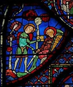 Chartres Cathedral window w. 7, Panel 20 Baudoin gives water to Roland but in vain as he dies
