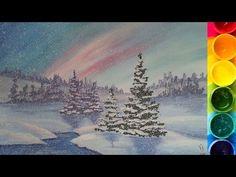 Зимний пейзаж поэтапно гуашью. Видео уроки рисования для детей 5-8 лет - YouTube
