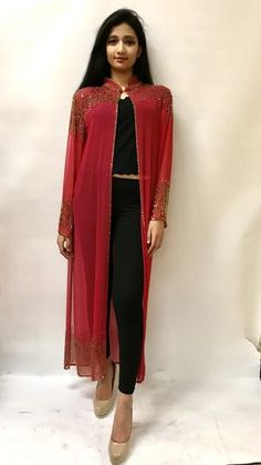 Beaded Long Drape/Jacket /Cape Stylish Dress Designs, Stylish Dresses, Fashion Dresses, Long Jackets For Women, Capes For Women, Dress Clothes For Women, Woman Clothing, Diy Clothes, Indian Designer Outfits