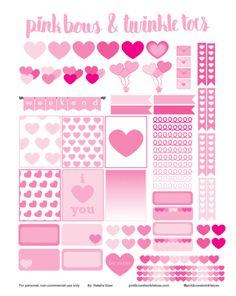 FREE Erin Condren LifePlanner sticker printable - Valentine's Day Hearts theme - vertical planner printable