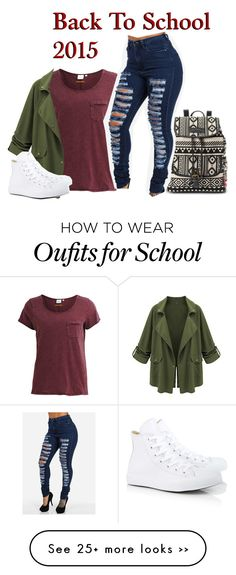 """back to school outfit idea!"" by tip-pinktigerx on Polyvore featuring Object Collectors Item, UNIONBAY, Converse and setsbysky"