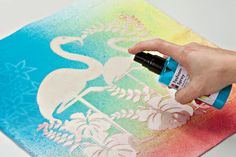 Fantastic colour fun on textiles. Anyone can bring their favourite style to T-shirts, bags, cushions and curtains. Create your own textile designs, super fast and easy. T Shirt Painting, Air Brush Painting, Fabric Painting, Fabric Spray Paint, Impression Textile, Color Spray, Altering Clothes, Textile Fabrics, Rainbow Loom