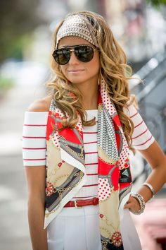 Gorgeous 43 Stylish Scarf Hairstyles for Women . Womens Fashion Online, Latest Fashion For Women, Hair Accessories For Women, Clothes For Women, Hair Scarf Styles, Trendy Swimwear, How To Wear Scarves, Headband Hairstyles, Party Hairstyle