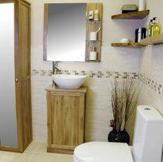 Slimline Bathroom Vanity Unit  #oakvanity #bathroom Oak Vanity Unit, Oak Bathroom Vanity, Bathroom Medicine Cabinet, Solid Oak, Sink, The Unit, Furniture, Home Decor, Sink Tops