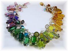 Furnace glass rainbow charm bracelet