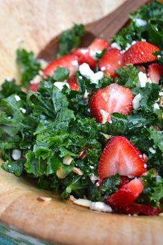 Strawberry Poppyseed Kale Salad  {gf, vegetarian}