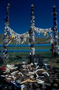 Shaman Worship Place - Note the cigarettes! Tobacco has been used ritually across all Shamanic practices worldwide historically as a cleansing agent and spirit offering but recent laws discourage tobacco use. Why?