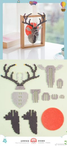 It would be cute to do for Christmas, by doing a reindeer and changing the n … – Perler beads – Hama Beads Perler Bead Designs, Hama Beads Design, Pearler Bead Patterns, Perler Patterns, Hama Beads 3d, Diy Perler Beads, Perler Bead Art, Bead Crafts, Diy And Crafts