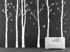 Decalshut Vinyl-Wandtattoo Wandaufkleber Birke für Kinderzimmer Wandtattoo Wohnzimmer an