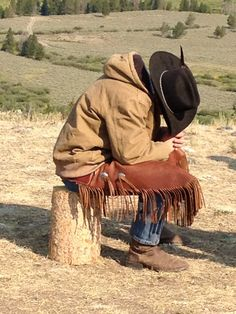 Cowboy taking a break.  Trail Ride Jackson Hole.  The Real Deal