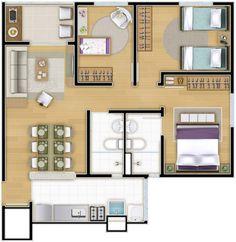 O apartamento de 3 dormitórios do Líber Bosque Clube tem 62 m², ambientes ...