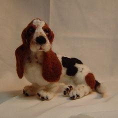 Basset Hound needle felted dog custom made by DreamwoodArtDesigns, on Etsy