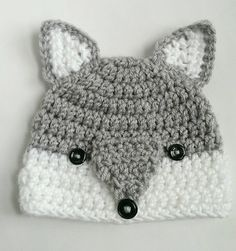 wolf hat woodlands animal handmade crochet knit hat beanie by TheFreckledPurl on Etsy https://www.etsy.com/listing/255056855/wolf-hat-woodlands-animal-handmade